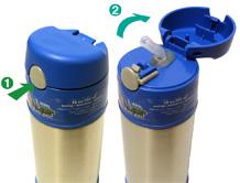 Thermos Versatile - termoska pro děti - otvírání