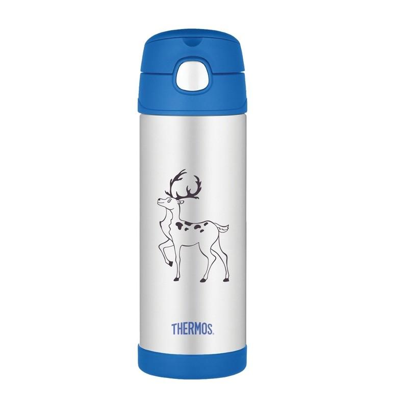 Termoska pro děti s brčkem - modrá
