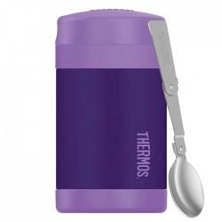 Dětská termoska na jídlo s lžící - fialová
