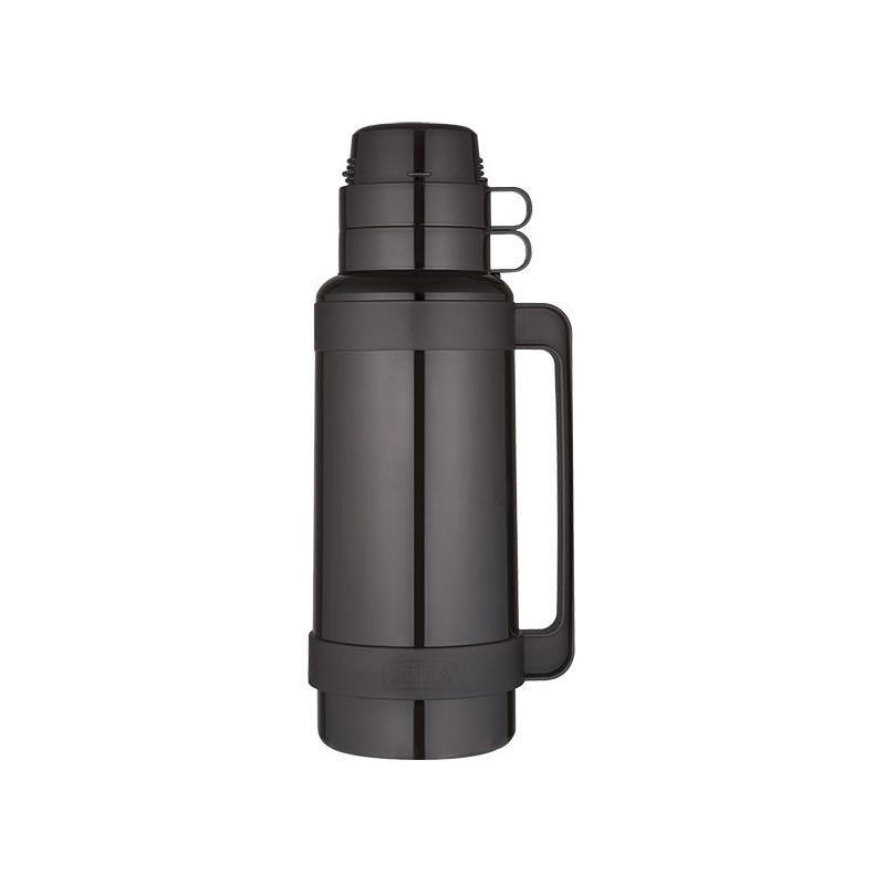 Skleněná termoska se dvěma šálky - černá