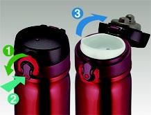Thermos Versatile - univerzální termohrnek - otvírání